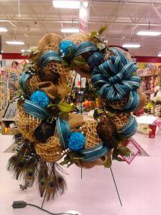 burlap wreath, peacock by Andi (9989)