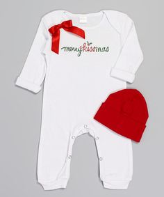 Take a look at this White & Red 'Merry Kissmas' Playsuit & Beanie - Infant on zulily today!
