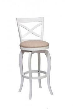 Constructed of hardwood and wood composites in a soft, white finish, The Ellendale features a simple, curving cross-back design and a 360-Degree swivel with a neutral-toned seat cushion. Available in bar and counter heights. If you are looking for swivel stools to enhance your dining or kitchen furnishings, the Ellendale swivel stool is a great choice! Browse this great dining collection online or in-store at Great American Home Store in Memphis, TN, and Southaven, MS.#stool #diningroom #bar