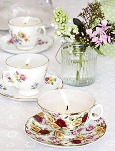 Stylish candleholder tea cups