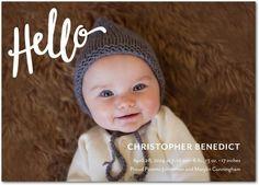 Precious Hello - Boy Photo Birth Announcements in White or Black | Petite Alma