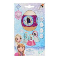 Zorg voor een sprookjesachtig ontbijt met deze eierwikkels van Disney Frozen. De set bevat 12 eierwikkels en 4 eierhouders met afbeeldingen van de film Frozen en 12 steentjes om de wikkels mee te versieren. Afmeting: verpakking 20 x 12 cm - Disney Frozen Eierwikkels