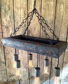 Edison Bulb Chandelier - Mason Jar Lighting - Mason Jar Fixture- Edison Bulb Chandelier-Reclaimed Wood- Upcycled Wood on Etsy, $309.00