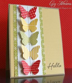 nice CAS LO great way to use butterfly dies/punches. stampin-up-cards Cute Cards, Diy Cards, Tarjetas Diy, Butterfly Cards, Paper Butterflies, Butterfly Wedding, Beautiful Butterflies, Paper Cards, Diy Paper