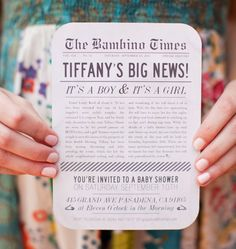 A headline-making invitation introduced guests to this vintage newsprint-inspired shower, and the theme was...