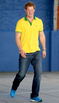 All Smiles from Prince Harry Tours South America  The attractive Brit dons Brazil's colors—yellow and green—during his trip to the ACER Charity for disadvantaged children.