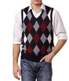 Charcoal Gray Diamond Argyle Sweater Vest | Cardigans For Men ...