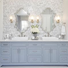 Traditional bathroom 349240146105896103 - Traditional Bathroom Design with light blue vanity, marble subway tile wall-Elegant bathroom design SOURCE-A WELL DRESSED HOME Source by jennelyinteriors Dream Bathrooms, Beautiful Bathrooms, Small Bathroom, Men's Bathroom, Bathroom Storage, Bathroom Organization, White Master Bathroom, Bamboo Bathroom, Master Baths