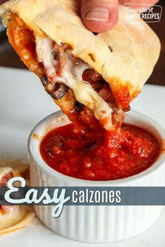 If you are craving the flavors of pizza, these Quick and Easy Calzones will not disappoint. The warm dough is filled with melted cheese and yummy toppings. Pizza Recipes, Appetizer Recipes, Cooking Recipes, Appetizers, Sandwich Recipes, Dinner Recipes, Easy Family Meals, Quick Meals, Family Recipes