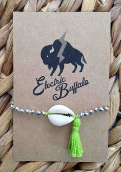 Shell and Lime Tassel Bracelet by ShopElectricBuffalo on Etsy