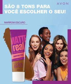 Base Líquida Matte Color Trend Matte Real 25 ml Base Matte, Avon Perfume, Matte Foundation, Insta Makeup, Color Trends, Skin Care, Lady, Ideas Para, Makeup Quotes