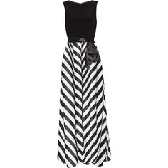 Gina Bacconi Jersey Bodice Satin Stripe Maxi Dress, Black/White ($275) ❤ liked on Polyvore featuring dresses, gowns, long-sleeve midi dresses, evening dresses, satin evening dresses, floor length evening dresses and empire waist evening gown