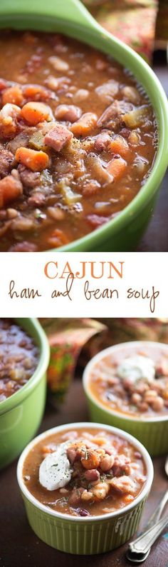 Cajun Ham and Bean Soup This slow cooker soup recipe is the perfect way to use up that leftover ham!