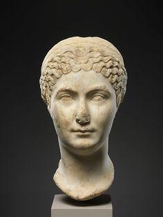 Marble portrait of Matidia Minor.   Period:Antonine.  Date:ca. A.D. 138–161.  Culture:Roman.  Medium:Marble.  Dimensions:H. 14 3/4 in. (37.5 cm)   The Met