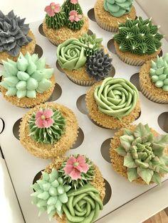 Succulent Cupcakes, Garden Cupcakes, Cactus Cupcakes, Cactus Cake, Flower Cupcakes, 21st Birthday Cupcakes, Wedding Cupcakes, Wedding Cake, Cake Decorating Techniques