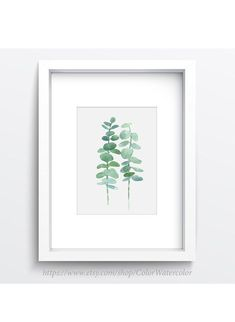 Pastel Green Eucalyptus Art Print Nursery Kids Room Wall  #pastel #green #illustration #eucalyptus #plant #painting #nursery #kids #room #decor #botanical #drawing #rustic #art #picture #poster