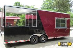 BBQ Trailers for sale - we have new & used BBQ pit /smoker concession trailers. These are custom units with a full kitchen inside thousands. Bbq Trailer For Sale, Porch For Trailer, Trailers For Sale, Bbq Smoker Trailer, Bbq Pit Smoker, Bar Catering, Mobile Catering, Starting A Food Truck, Propane Smokers