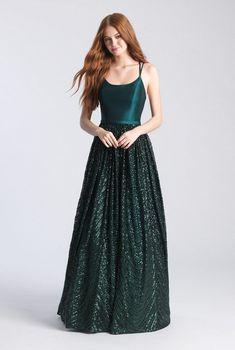 Madison James - Scoop Neck Sequined A-Line Gown Prom Dress Stores, Prom Dresses Online, Sweet 16 Dresses, Short Dresses, Chiffon Dresses, Fall Dresses, Formal Dresses, A Line Gown, Green Gown