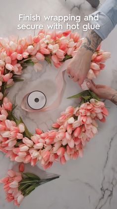Get Your Front Door Ready For Spring With This Pink Tulip Wreath
