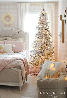Pretty girl's pink bedroom decorated for Christmas ~ Holiday Housewalk 2017