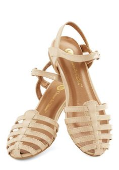 Wow the Crowd Sandal in Beige - Low, Sheer, Faux Leather, Tan, Solid, Casual, Daytime Party, Beach/Resort, Spring, Summer, Good, Strappy, Va...