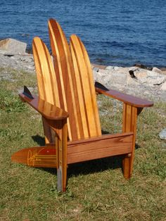 Items similar to Adirondack chair made out of Vintage water skis on Etsy Adirondack Chair Plans, Polywood Adirondack Chairs, Rustic Chair, Rustic Furniture, Outdoor Furniture, Water Ski Decor, Wooden Planter Boxes, Lake Decor, Outdoor Chairs