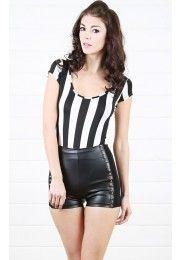 Striped Bodysuit BLACK WHITE