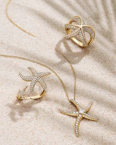 Channel sun & sand with marine-inspired jewelry starring glittering diamonds.  #summer #starfish #style