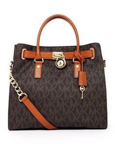 MICHAEL Michael Kors Hamilton Large MK Logo Tote Bag, Brown #Glimpse_by_TheFind