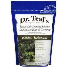 Dr. Teal's Relax Epsom Salt Eucalyptus Spearmint Soaking Solution, 3 lbs.