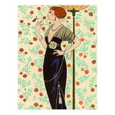 George Barbier's artwork titled Robe du Soir Satin Noir et Tulle. Hand-coloured, plate-signed pochoir print (plate from the 1913 Journal des Dames et des Modes - a Parisian fashion journal published by Tom Antongini from June 1912 until August Art Deco Illustration, Fashion Illustration Sketches, Vintage Illustrations, Art Deco Posters, Vintage Posters, Vintage Art, Moda Art Deco, Satin Noir, Art Deco Stil