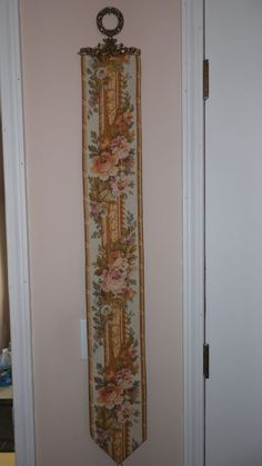 """Vintage Tapestry Floral Roses Bell Pull Brass Accents Corona Decor Co. 47"""" Long"""