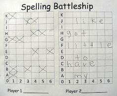 "Mrs. T's First Grade   came up with this awesome game to make spelling fun!    ""2 player game, each player inserts his word list in spaces g..."