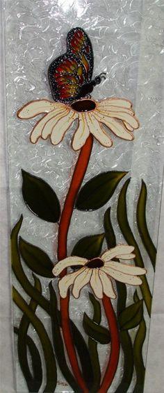Peinture décorative *faux vitrail* de différentes grandeurs et sur différents supports.
