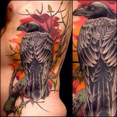 Amazing raven tattoo by @darcynutt