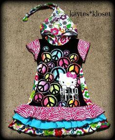 Hello Kitty Peace Upcycle Tee Dress