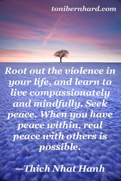 """""""When you have peace within, real peace with others is possible."""" —Thich Nhat Hanh"""