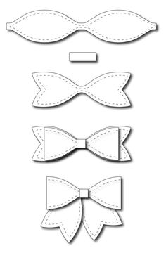 Frantic Stamper - Precision Dies - Large Solid Paper Bow-Our large bow measures wide without the tails, or wide with the tails. This bow Diy Hair Bows, Diy Bow, Felt Crafts, Diy And Crafts, Paper Crafts, Felt Bows, Ribbon Bows, Ribbon Hair, Felt Flowers