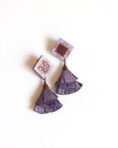 Purple Leather Tassel Earrings, Violet Glitter Effect Suede Leather, Copper Hand Painted, Rhombus Earrings Fringe Earrings, Star Earrings, Leather Earrings, Leather Jewelry, Drop Earrings, Purple Leather, Leather Fringe, Metallic Leather, Suede Leather