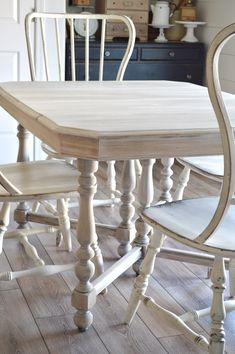 Many of you had inquired about the recent table project that I completed, where I bleached my table, so I thought I would put a little post together of the process. I scored this antique table at G… Antique Dining Tables, Dining Table Chairs, A Table, Dining Sets, Oak Table And Chairs, Farmhouse Table Chairs, Farmhouse Furniture, Furniture Makeover, Wood Furniture