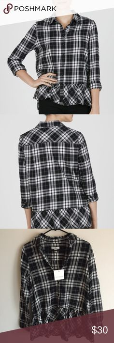Beach Lunch Lounge Cora Flannel This modern classic balances the off-duty ease of soft cotton-flannel with a statement-making ruffled drop-waist peplum and bracelet sleeves that elevate even your basic blues. beachlunchlounge Tops Button Down Shirts