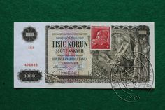 1000 Slovakian crowns - historical banknote 1940 (WW II) Commemorative Coins, Old Coins, Financial Markets, European Countries, Note, Czech Republic, Ephemera, Stamp, Retro