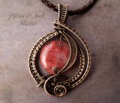 Wire Wrapped jewelry handmade, wire wrapped pendant necklace, copper jewelry, wire jewelry, pink Fire Cherry Quartz, woven wire jewelry