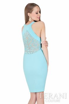 61fb3ae523 Terani Couture halter cocktail dress with matching geometric beadwork at  the waistline and back Style