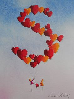 Fabulous Watercolours - the letter S in hearts <3