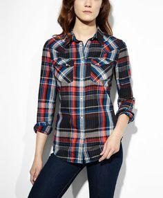Tailored Western Shirt - Shine Plaid Black - Levi's - levi.com