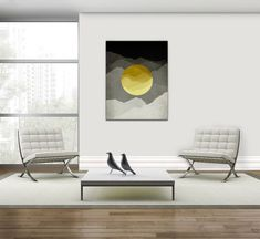 Mid Century Modern Canvas Art Yellow and Gray Abstract Wall