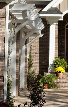 The pergola, a beautiful architectural detail that can alter the facade of your home and improve curb appeal Diy Pergola, Garage Pergola, Cheap Pergola, Pergola Shade, Pergola Kits, Pergola Ideas, Modern Pergola, White Pergola, Small Pergola