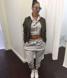 pants sweater hoodie tracksuit joggers set matching set grey comfy casual bomber jacket cropped sweater joggers pants top jacket sweatpants shirt two-piece grey sweatpants Chill Outfits, Casual Outfits, Cute Outfits, Fashion Outfits, Womens Fashion, Jogger Outfit, Sweatpants Outfit, Green Bomber Jacket, Blazer Jacket