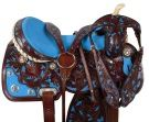 Blue Inlay Dark Brown Barrel Racing Horse Saddle 16